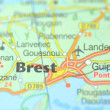 Stock Photo: Brest in France on map