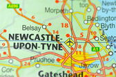 Newcastle in England on the map — Stock Photo