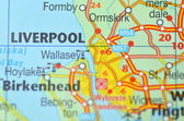 Liverpool in England on the map — Стоковое фото