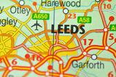 Leeds in England on the map — Foto de Stock