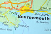 Bournemouth in England on the map — Stock Photo