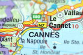 Cannes in France on the map — Stock Photo