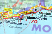 Monte-Carlo in France on the map — Stock Photo