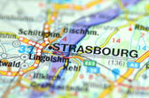 Strasbourg in France on the map — Stock Photo