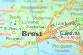 Brest in France on the map — Stock Photo