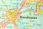 Bordeaux in France on the map — Stock Photo