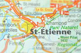 St-Etienne in France on the map — Stock Photo