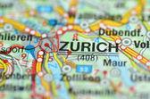 Zurich in Switzerland on the map — Stock Photo