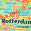 Stock Photo: Rotterdam in Holland on the map