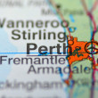 Perth in Australia on the map — Stock Photo