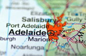 Adelaide in Australia on the map — Stock Photo