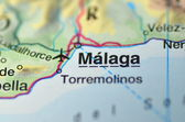Malaga in Spain on the map — Stock Photo