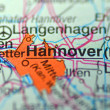 Hannover in Germany on map — Stock Photo #39187649