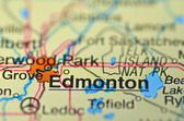 Edmonton in Canada on the map — Stock Photo