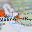 Malmo in Sweden on map — Stock Photo #39202021