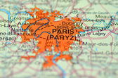 Paris in France on the map — Stockfoto