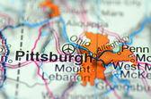 Pittsburg, w pensylwanii w usa na mapie — Zdjęcie stockowe