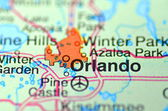 Orlando, Florida in the USA on the map — Stock Photo