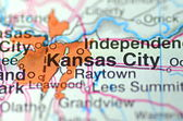 Kansas City, Missouri in the USA on the map — 图库照片