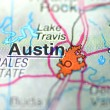 Austin, texas in USon map — Stok Fotoğraf #39262639