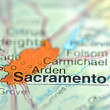 Stock Photo: Sacramento, Californiin USon map