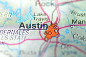 Austin, texas in the USA on the map — Stock Photo