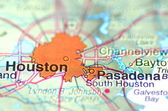 Houston, texas in the USA on the map — Stock Photo