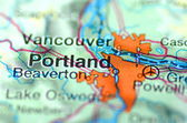 Portland, oregon in the USA on the map — Stock Photo