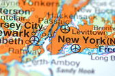 New York in the USA on the map — 图库照片