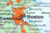 在地图上,美国马萨诸塞州波士顿市 — 图库照片