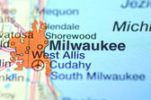 Milwaukee, Wisconsin in the USA on the map — Stock Photo