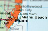 Miami,florida in the USA on the map — Stock Photo