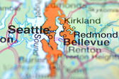 Seattle , Washington in the USA on the map — Stock Photo