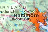Baltimore, Maryland in the USA on the map — Stock Photo