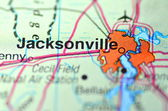 Jacksonville, Florida in the USA on the map — Stock Photo