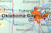 Oklahoma City in the USA on the map — Stock Photo