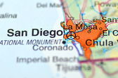 San Diego, California in the USA on the map — Stock Photo
