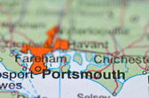 Portsmouth in England on the map — Stock Photo