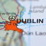 Dublin in Ireland on the map — Stock Photo
