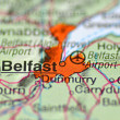 Stock Photo: Belfast in Northern Ireland on the map