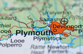 Plymouth in England on the map — Stock Photo