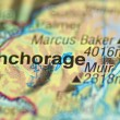 A closeup of Anchorage, alaska in the USA on a map — 图库照片