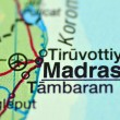 Stock Photo: Closeup of Madras in Indion map