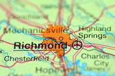 A closeup of Richmond, Virginia in the USA on a map — Stock Photo