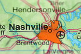 A closeup of Nashville, Tennessee in the USA on a map — Stock Photo