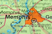 A closeup of Memphis, Tennessee in the USA on a map — Stock Photo
