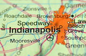 A closeup of Indianapolis, Indiana in the USA on a map — Stock Photo