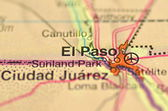 A closeup of El Paso, Texas in the USA on a map — Stock Photo