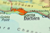 A closeup of Santa Barbara, California in the USA on a map — Stock Photo