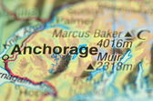 A closeup of Anchorage, alaska in the USA on a map — Stock Photo